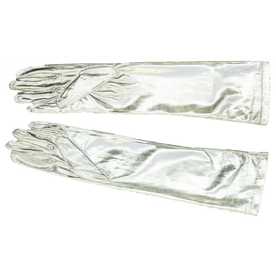 GLOVES ELBOW METALLIC SILVER