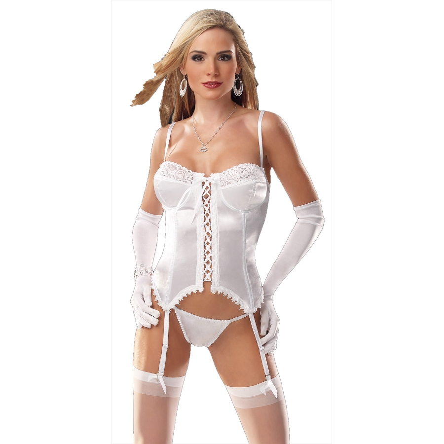 BUSTIER AND THONG WHT LG