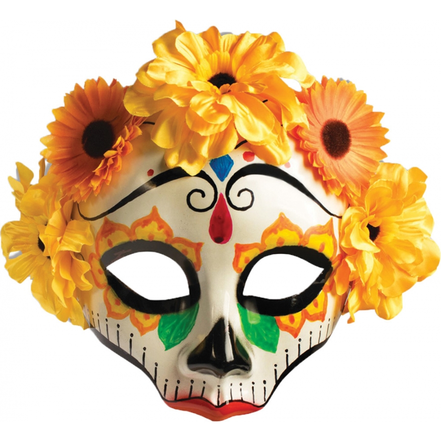 DAY OF DEAD FEMALE MASK W FLWS
