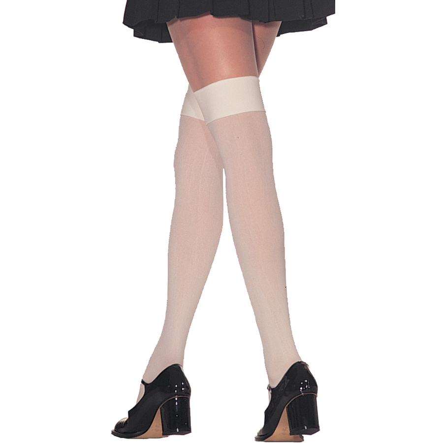 THIGH HI OPAQUE NYLON WHITE