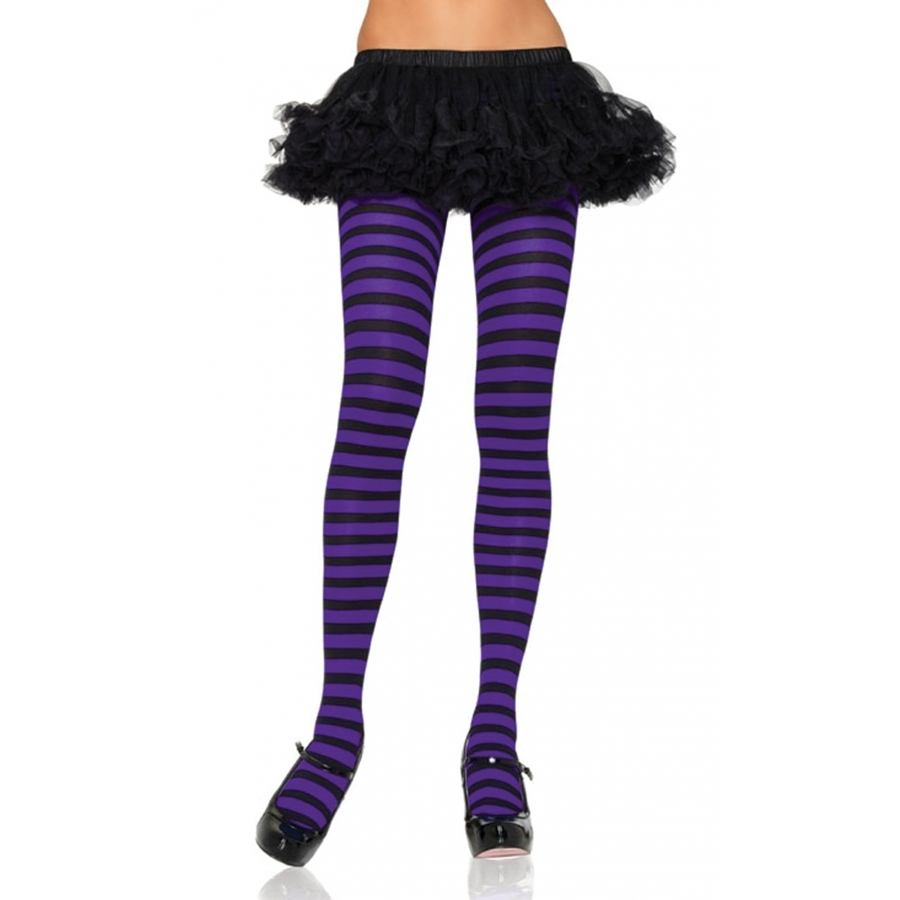 TIGHTS STRIPED BLACK PURPLE