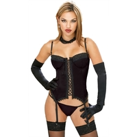 BUSTIER AND THONG BLACK LG